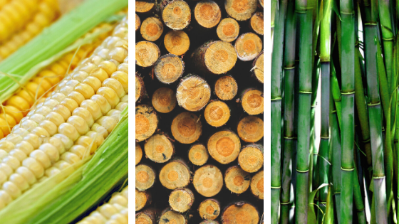 corn, wood, bamboo