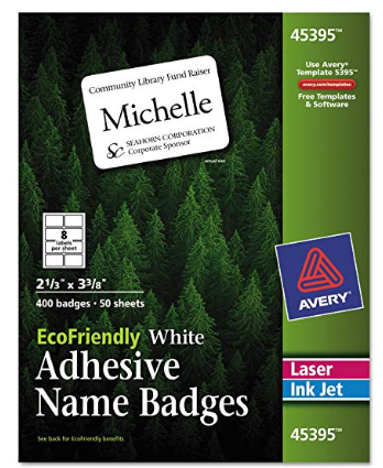 avery ecofriendly adhesive name badges