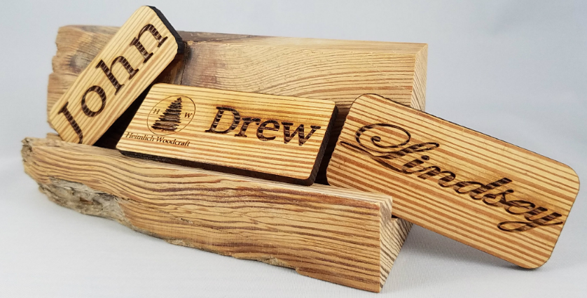 reclaimed wood name tag